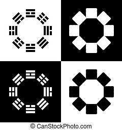 Bagua sign. Vector. Black and white icons and line icon on...