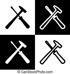 Tools sign illustration. Vector. Black and white icons and...