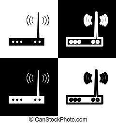 Wifi modem sign. Vector. Black and white icons and line icon...