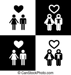 Family symbol with heart. Husband and wife are kept each other`s hands. Love. Vector. Black and white icons and line icon on chess board.