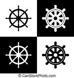 Ship wheel sign. Vector. Black and white icons and line icon on chess board.
