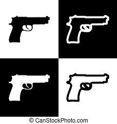 Ilustración, iconos, arma de fuego, señal, negro, ajedrez,...