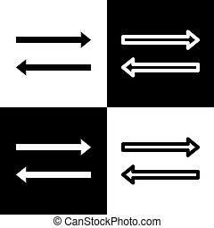 Arrow simple sign. Vector. Black and white icons and line icon on chess board.