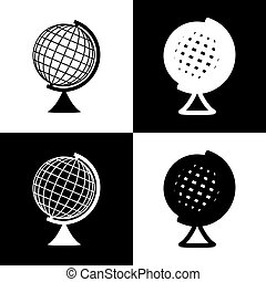 Earth Globe sign. Vector. Black and white icons and line...