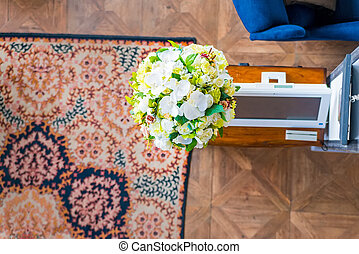 Top view of a restaurant with flowers - Top view of a...
