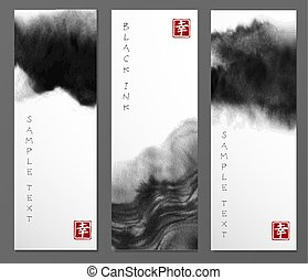 Banners with abstract black ink wash painting in East Asian style. Traditional Japanese ink painting sumi-e. Contains hieroglyph - happiness.