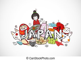 Japan colored doodle sketch elements background on white....