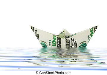 Ship made of money in water