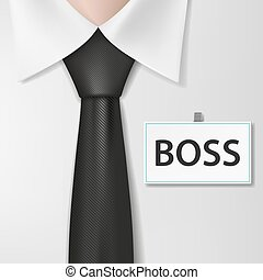 Badge with the inscription boss, on a white shirt. Stock vector