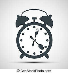 Icon alarm clock with a fork and spoon. Stock vector...