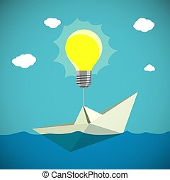 Paper Boat hanging on the light bulb. Stock vector. - Paper...