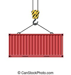 Crane hook lifts the metal container. Transportation of cargo. I
