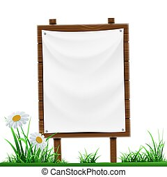 Wooden sign with white banner. Isolated on white background.