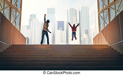 Father and child climb upstairs. Family rejoices on the...