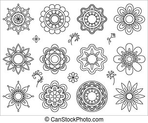 Set of flower mono line icons. Thin line blend design...