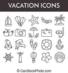 Set of thin line icons with vacation symbols. Traveling pictograms for websites, banners, infographic illustrations.