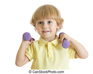 Child with dumbbells. Portrait of sporty kid boy in yellow t-shirt on white background.