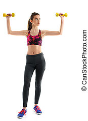 Fitness woman exercising crossfit holding dumbbell strength trai