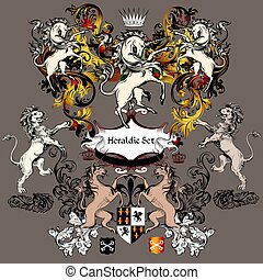 Heraldic collection of detailed design with coat of arms in luxury style. Swirls, unicorns, lions, shields.eps