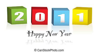 New Year wood blocks 2011 - Colorful wooden blocks with the...