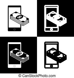 Payment, refill your mobile smart phone,. Vector. Black and...
