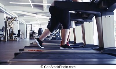 Unrecognizable overweight woman in gym walking on treadmill....