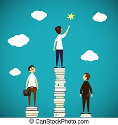 Man standing on a stack of books. Scientific discoveries, and ed