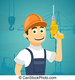 Construction worker with a drill tool in his hand. Stock vector