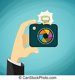 Man holds a camera in his hands. Paparazzi. Stock Vector cartoon