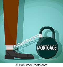 Man chained to the weight with the word mortgage. Stock...