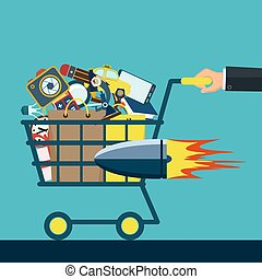 Shopping cart with purchases.