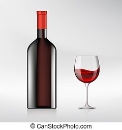 Glass of wine and a bottle. Realistic image. Stock vector...