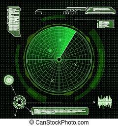 Military green radar. Screen with target. Futuristic HUD interfa