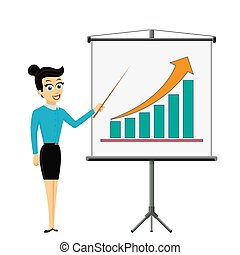 Woman businessman showing on the board financial graph of growth