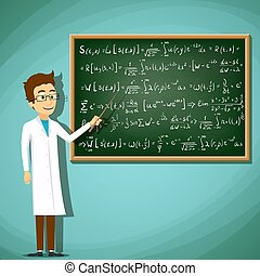 Man in white lab coat standing next to a chalkboard....