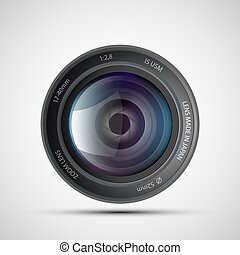 Icon of lens from the photo camera. Stock vector.