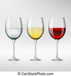 Set of glasses with red and white wine and water. Stock...