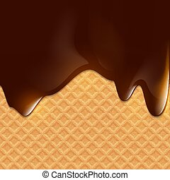 Dark chocolate flows on wafer. Dessert background. Stock vector