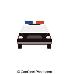 Police car icon front view in flat style for UI UX design. Vector