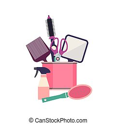 Professional hairdresser tools. Barber fashion objects set. Hairstyle haircut icons design salon. Vector hairdresser equipment.