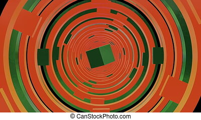 Abstract tunnel in orange and green colors with square