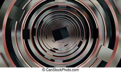 Abstract tunnel in metallic color with square