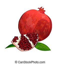 Ripe red pomegranate and slices isolated on white. Whole,...