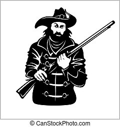 Pirate with a gun - vector illustration isolated on white