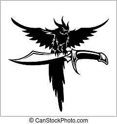 Pirates crew logo - parrot and sword - vector