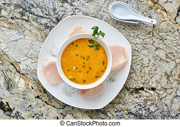 Creamy crab soup on marble background - Creamy crab soup...