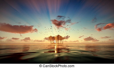 Tropical island isolated by water, seagulls flying at sunrise