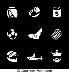 Vector Set of UAE Icons. - Sultan, clock, oil, soccer ball,...