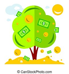 Vector Money Tree. Symbol of successful business. Flat style colorful Cartoon illustration.