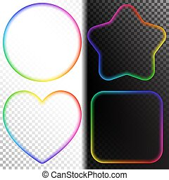 Set of Abstract Transparent Rainbow Gradient Blurry Figure....